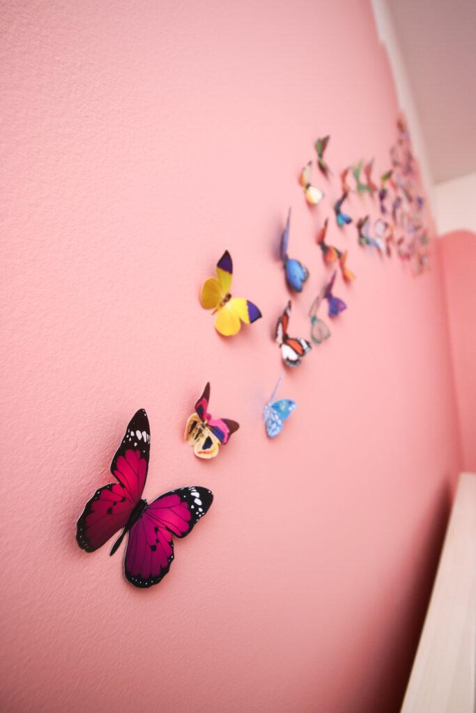 butterflies hanging on a wall