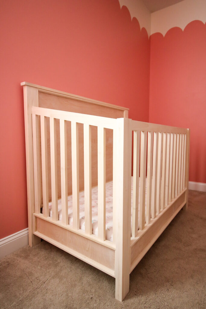 Side view of DIY traditional style crib