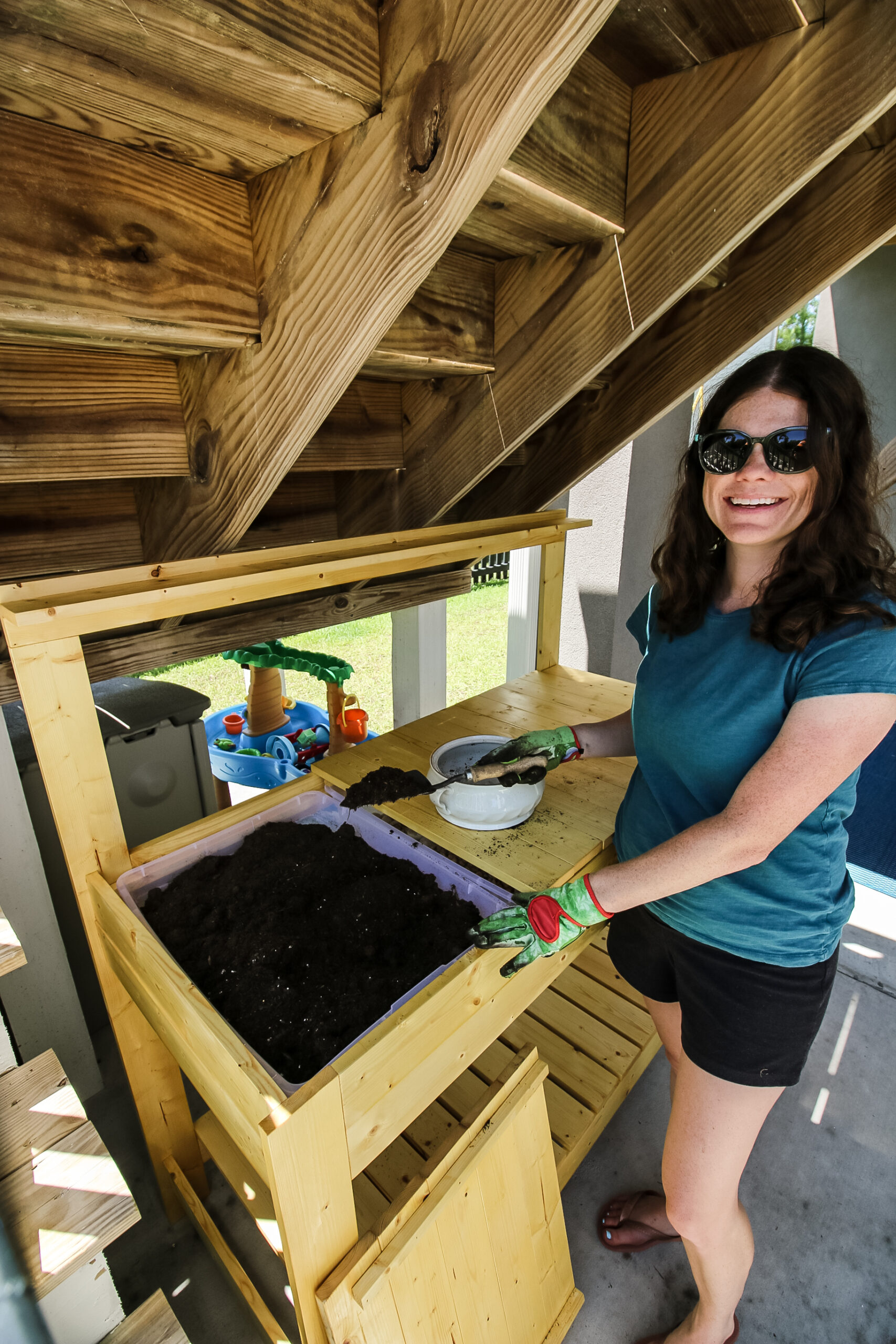 How to build a DIY potting bench with hidden storage - Charleston Crafted