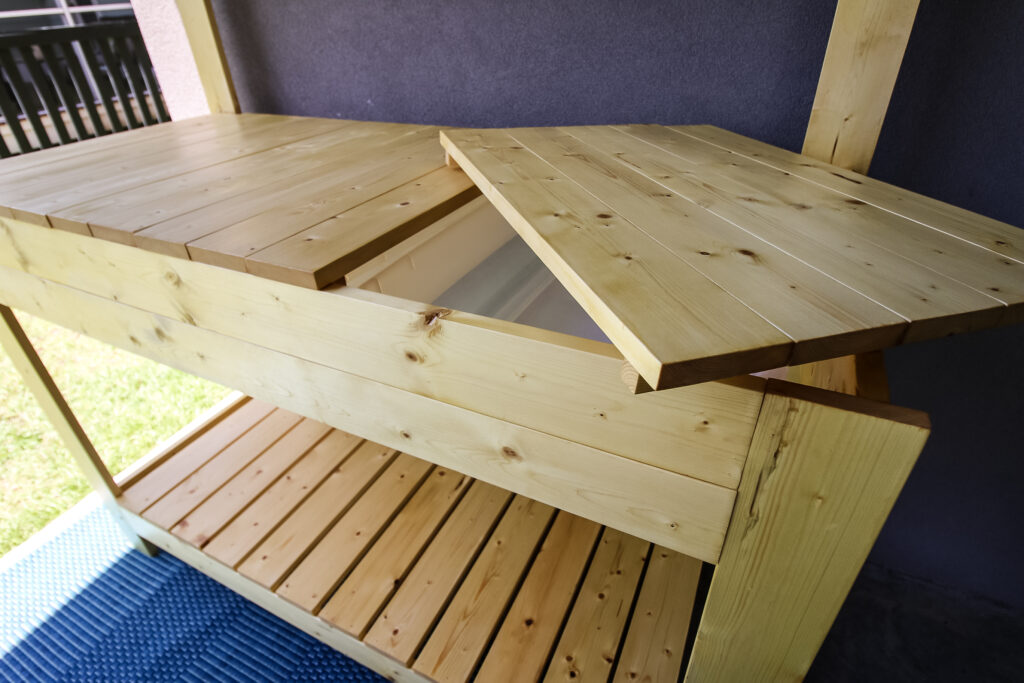 One counter of potting bench removed