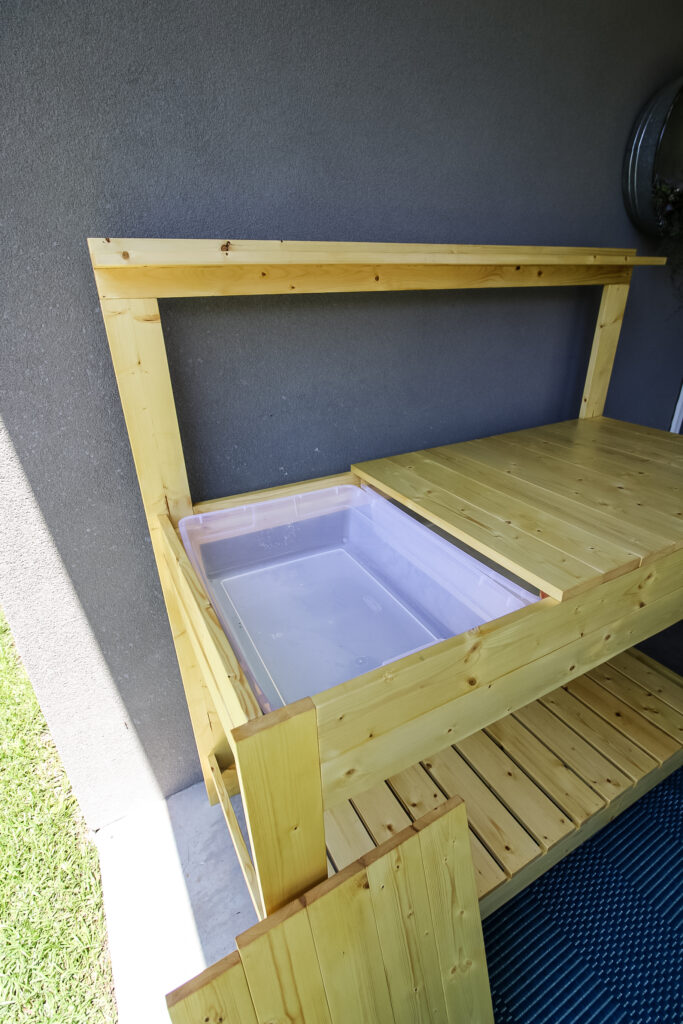 Potting bench with one counter section removed