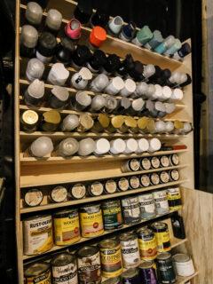 DIY spray paint storage rack - Charleston Crafted