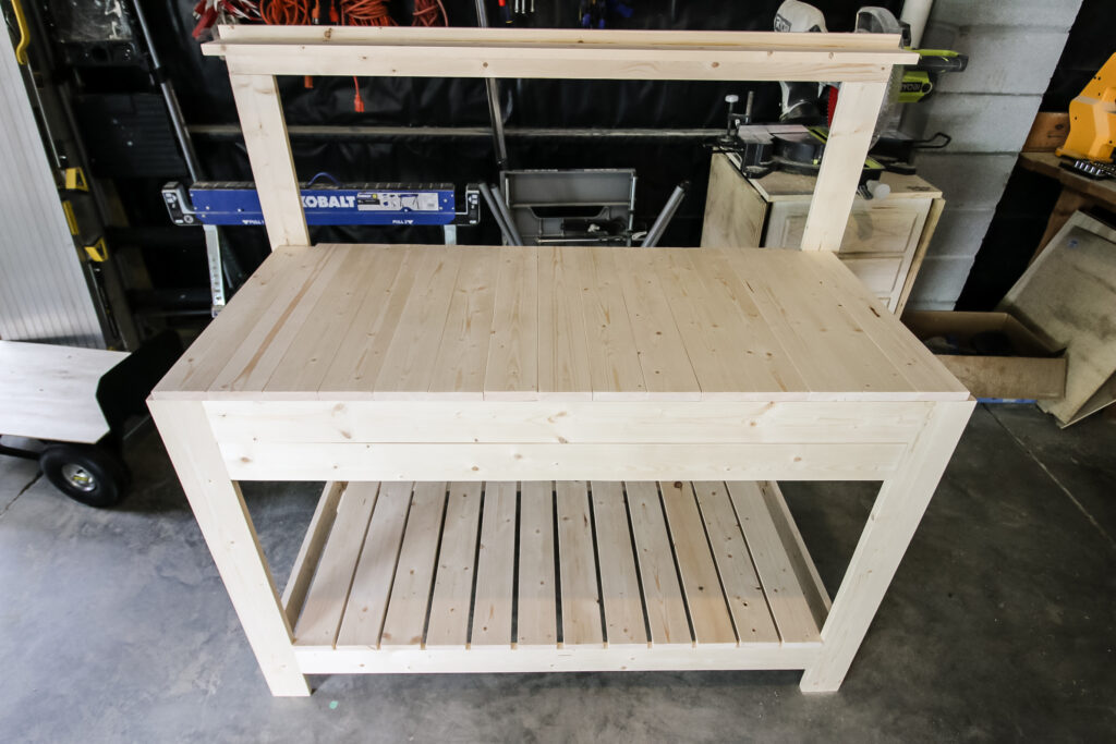 Bench with counter attached