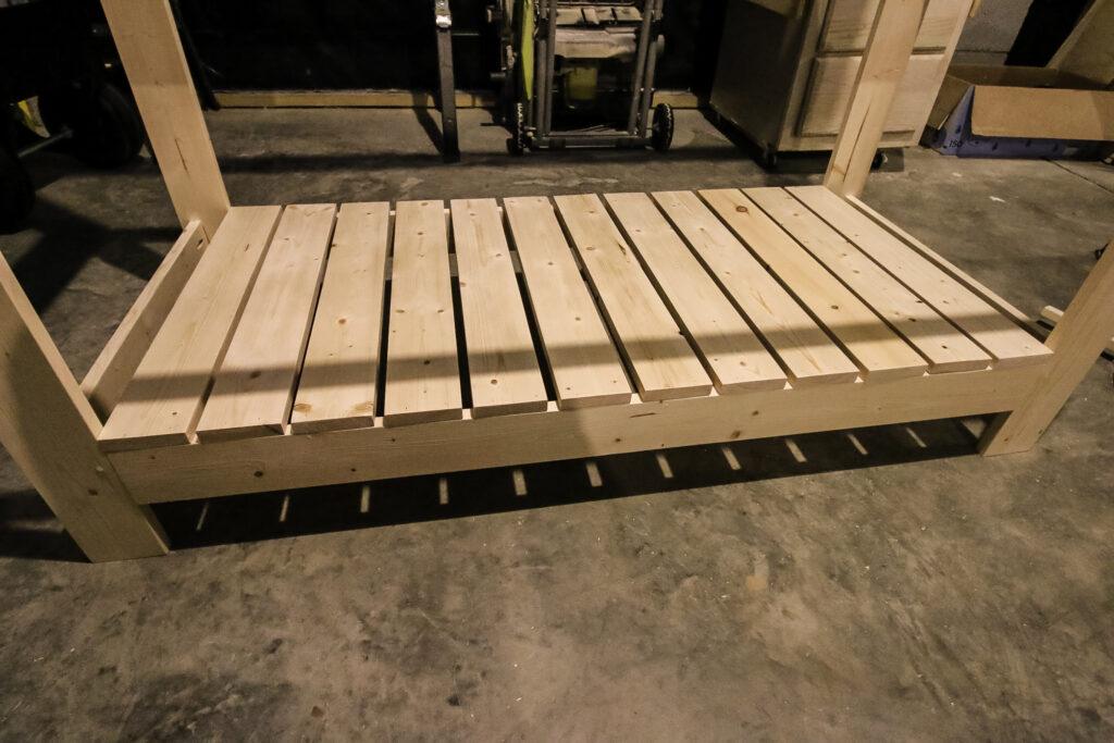 Lower slats on potting bench