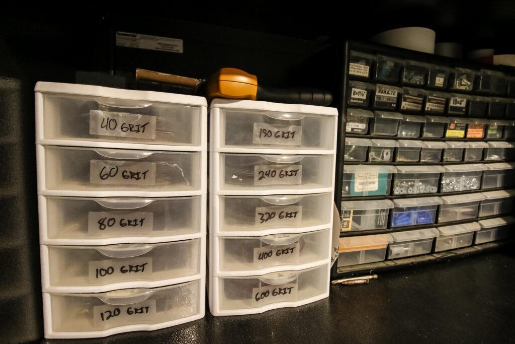 Storing sandpaper in plastic drawers