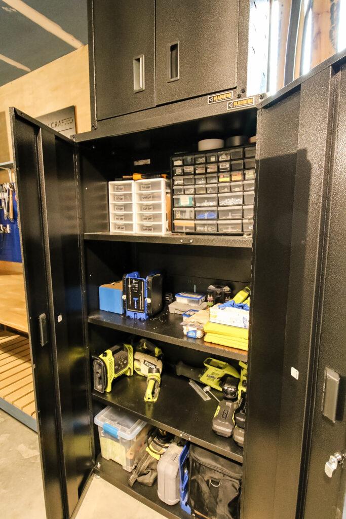 Gladiator storage cabinets in workshop