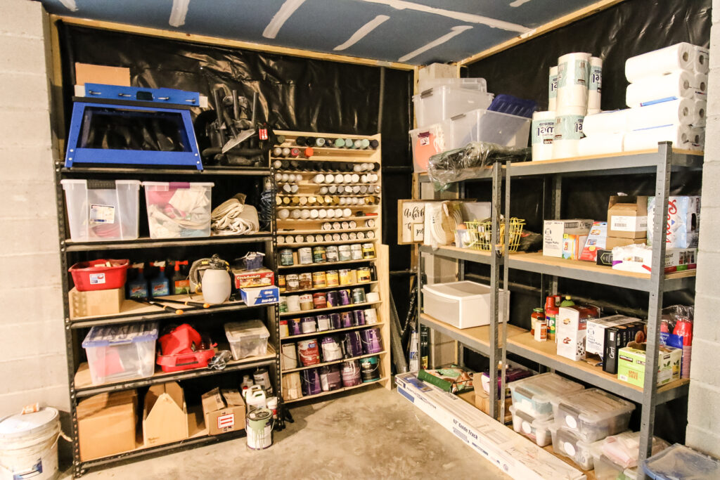 Garage storage and spray paint storage rack