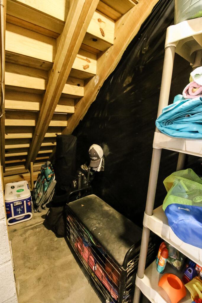 Storage under garage stairs