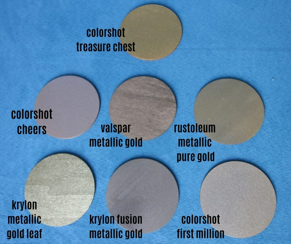 comparing gold spray paints