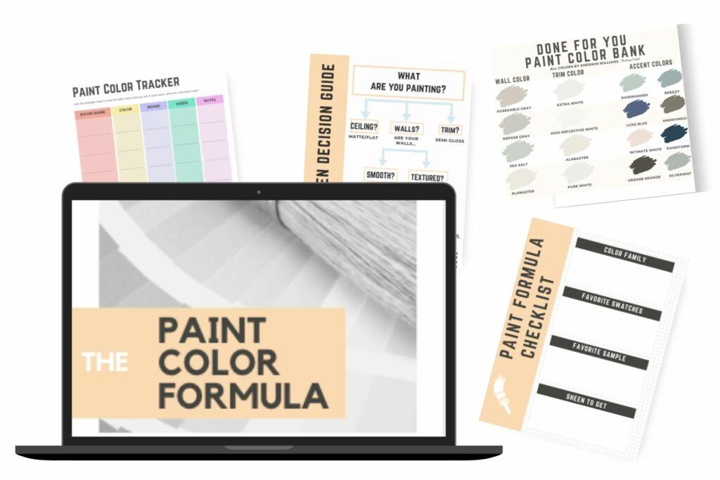 The paint color formula mock up