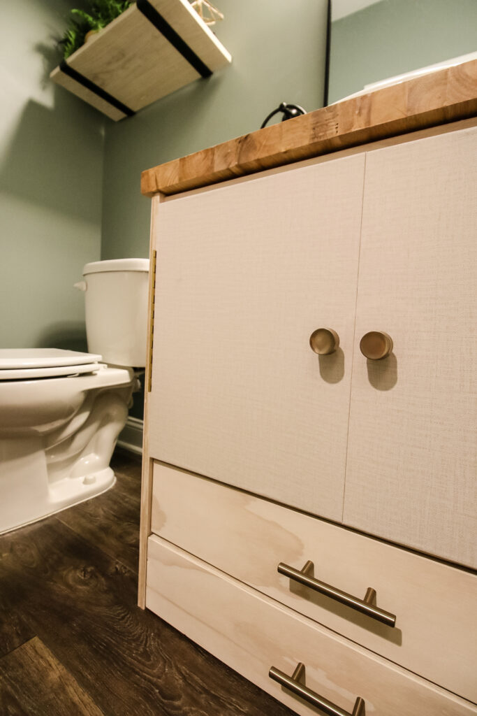 Low angle picture of pedestal sink vanity