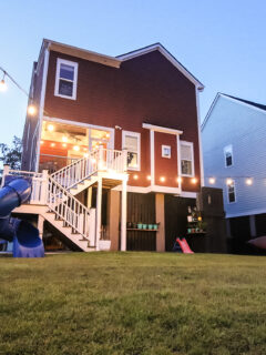 How to string lights across your backyard without trees - Charleston Crafted