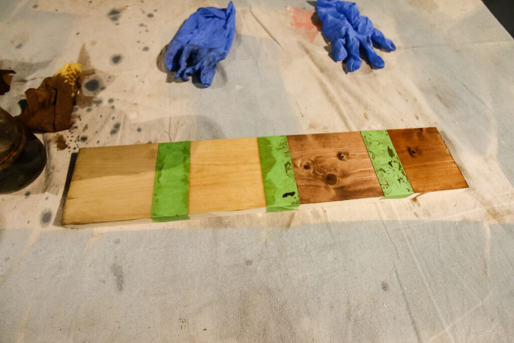wood stained with vinegar