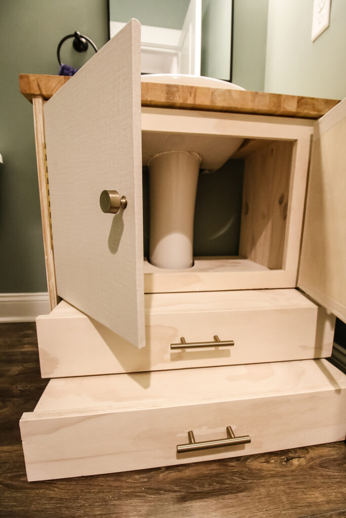 Steps for vanity with open doors for storage