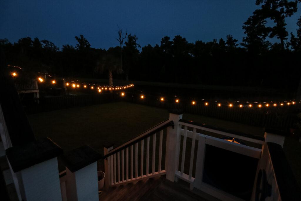String lights in backyard