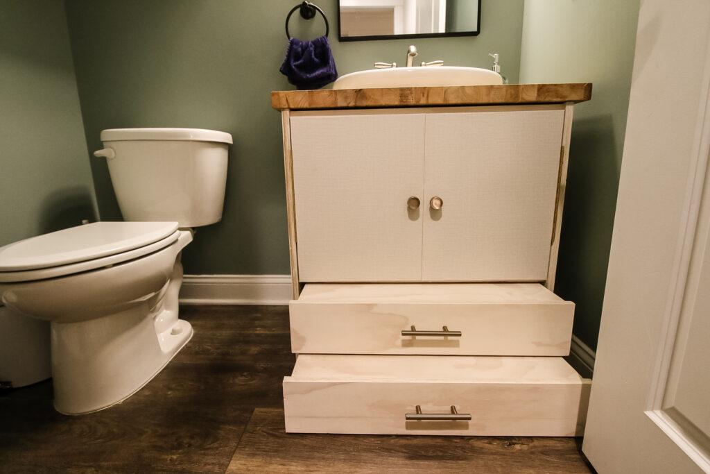 Pull out steps on pedestal sink vanity