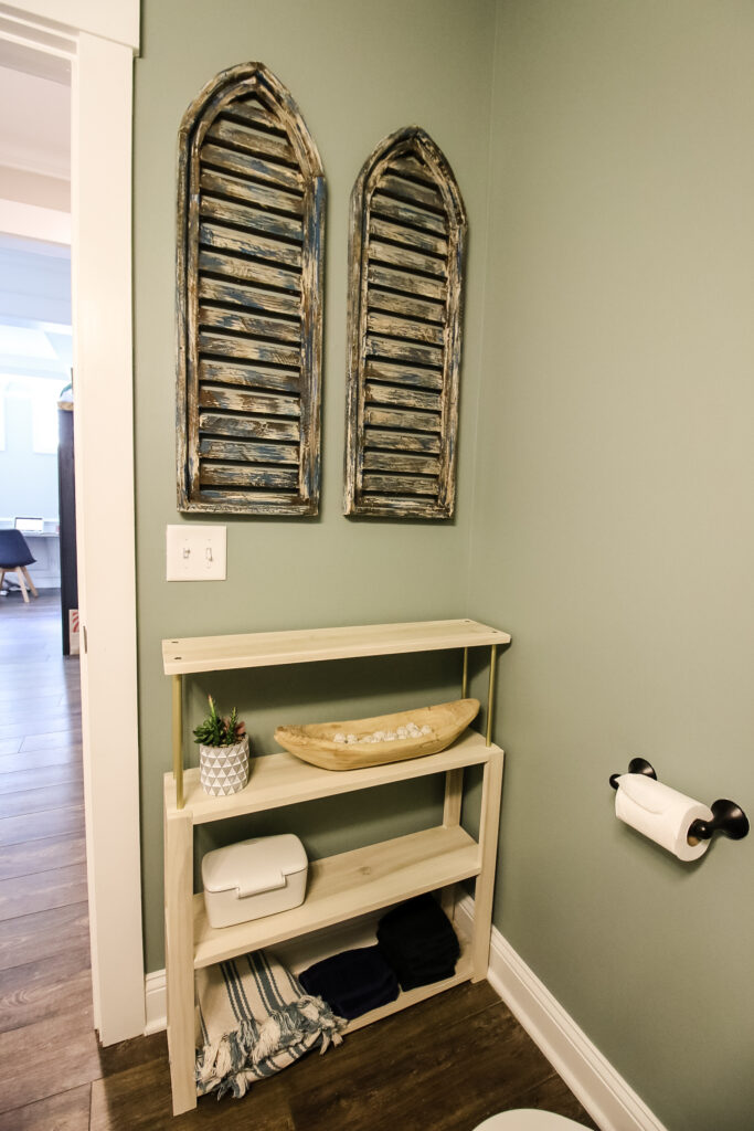 shelving and shutters in half bathroom