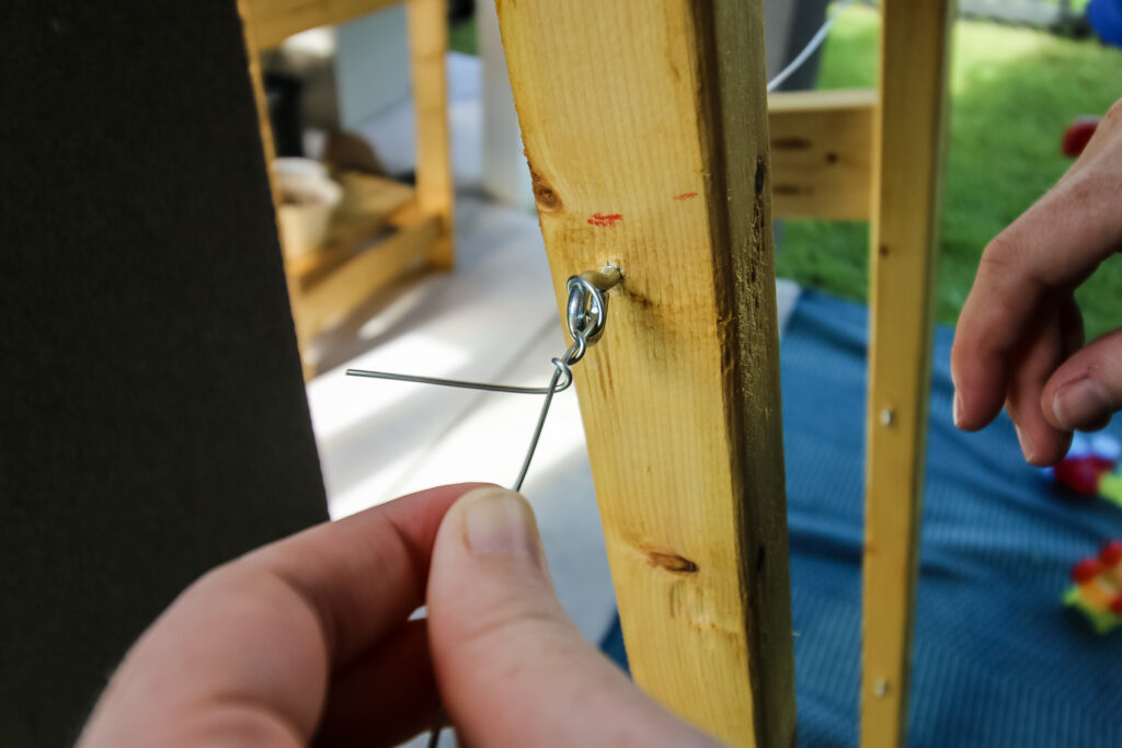Attaching eye hooks and wire