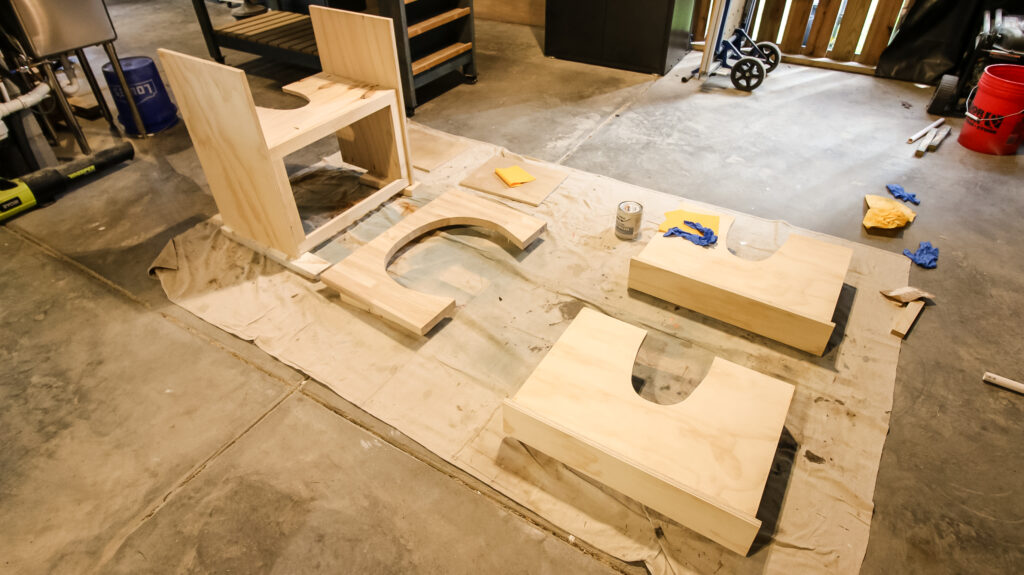 Pedestal sink notches cut in vanity