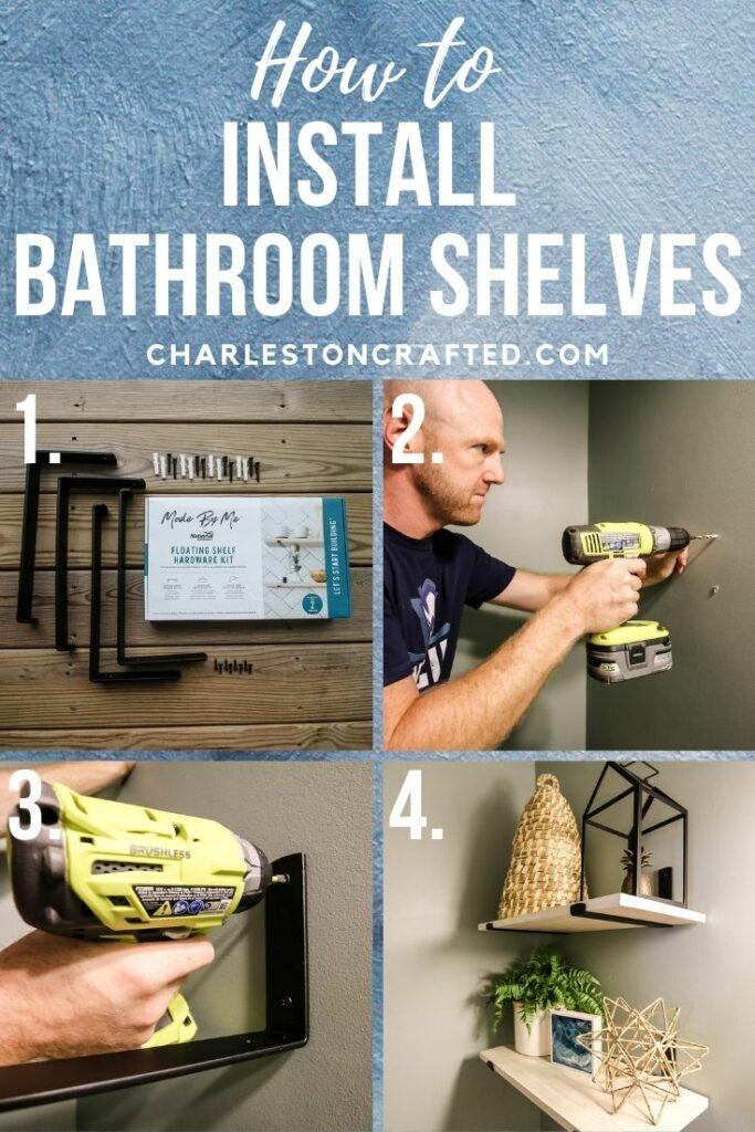 how to install bathroom shelves