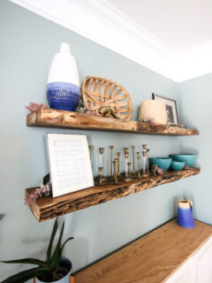 How to make DIY live edge floating shelves from a hardwood slab - Charleston Crafted