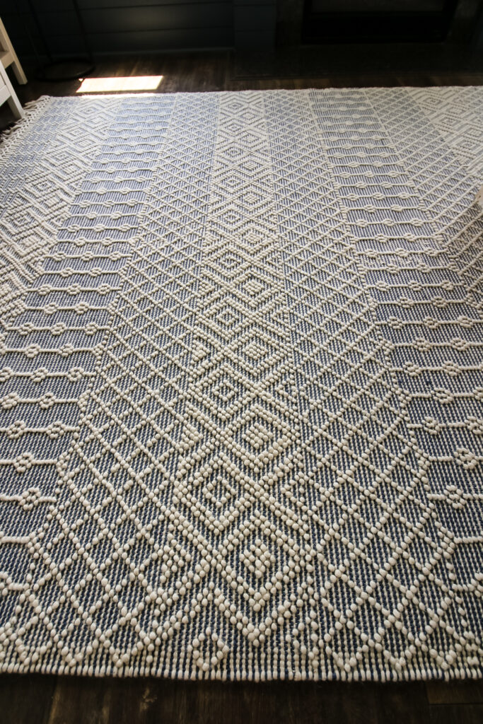 close up of blue and white rug