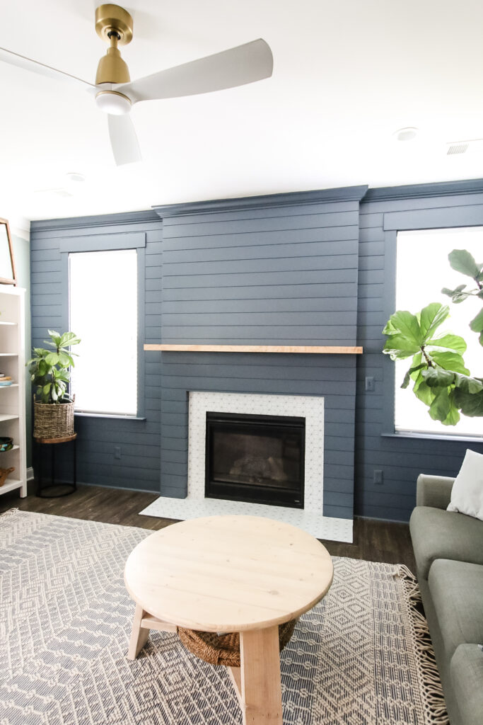 Tall final picture of diy shiplap fireplace and accent wall