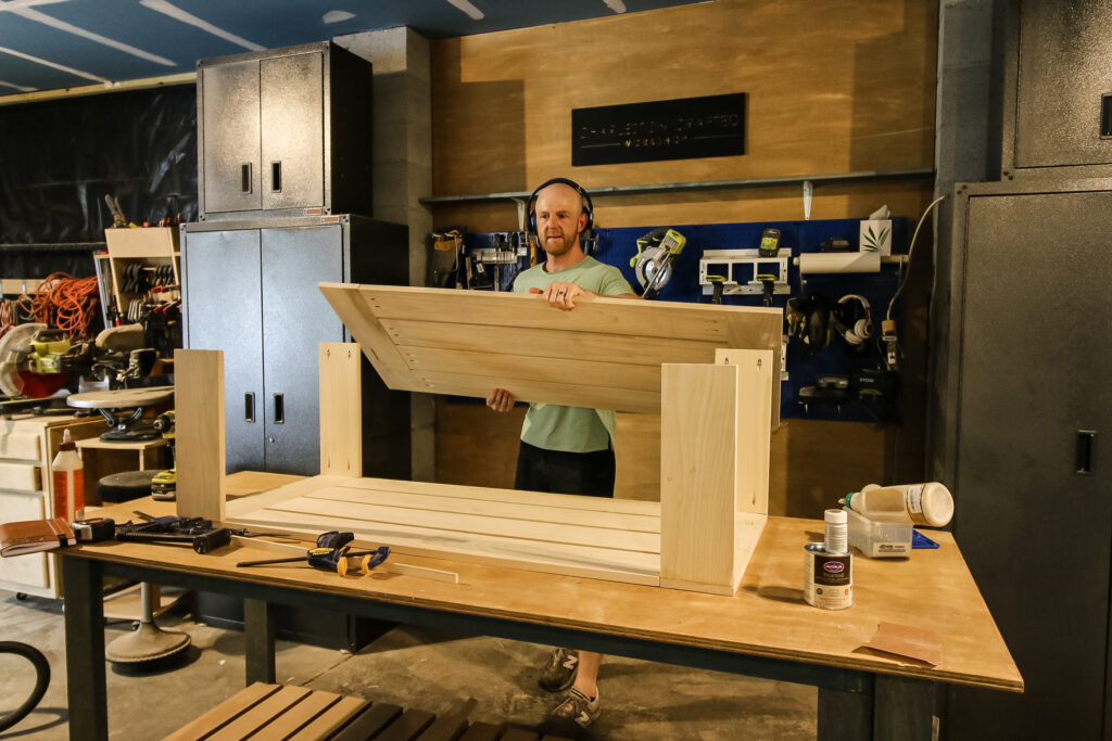 Adding top to legs of coffee table