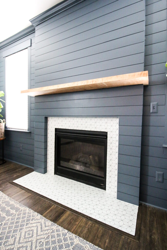 Vertical final picture of shiplap fireplace