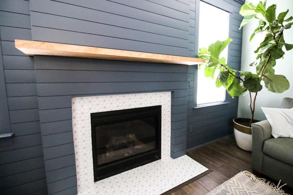 Shiplap fireplace in living room