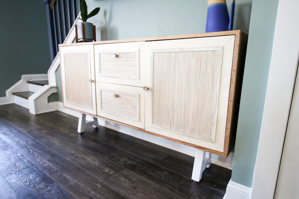 How to build a DIY buffet table with fluted doors - Charleston Crafted