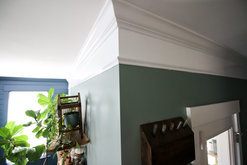 Extended crown molding with paint and base cap