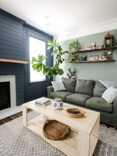 Coffee table with shiplap fireplace