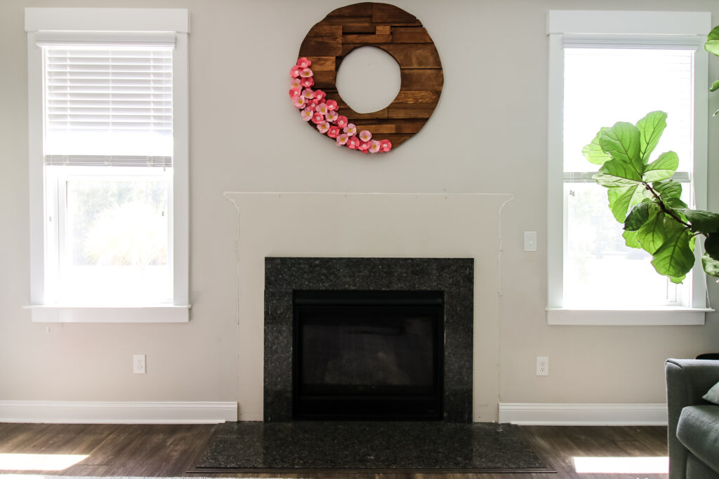 After removal of builder grade fireplace