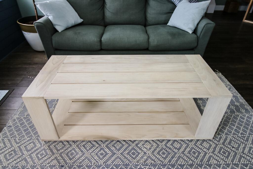 Wide empty shot of modern coffee table