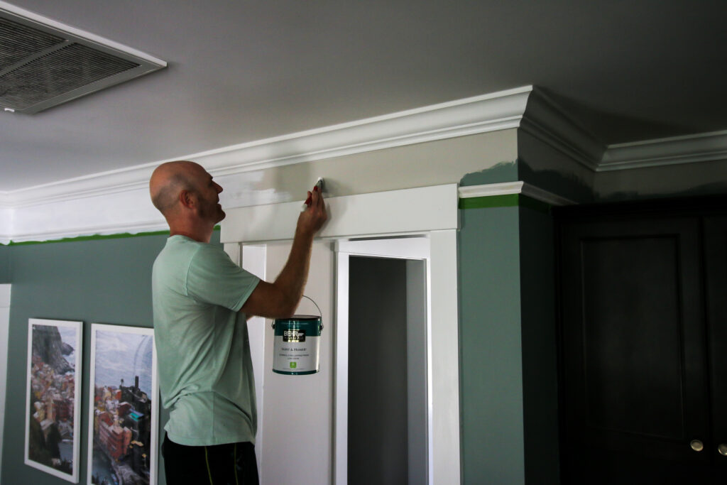 Painting area between base cap and crown molding