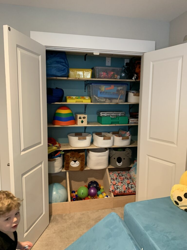 playroom with organized shelves