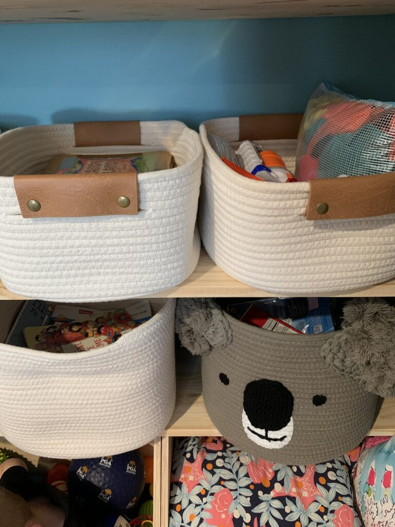 zipper bags within bins for storing toys
