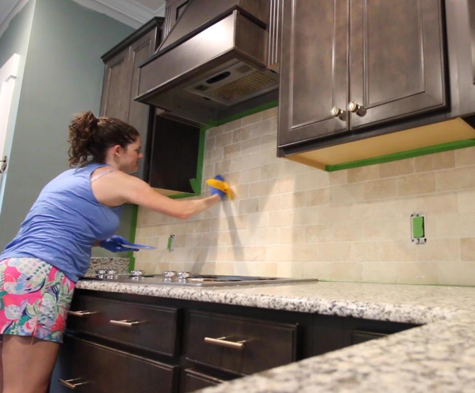 painting the tile backsplash