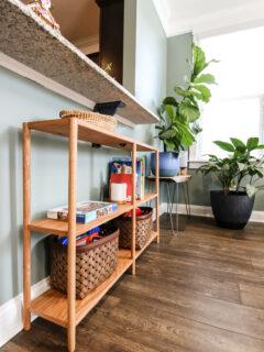 DIY dowel rod bookshelf - Charleston Crafted