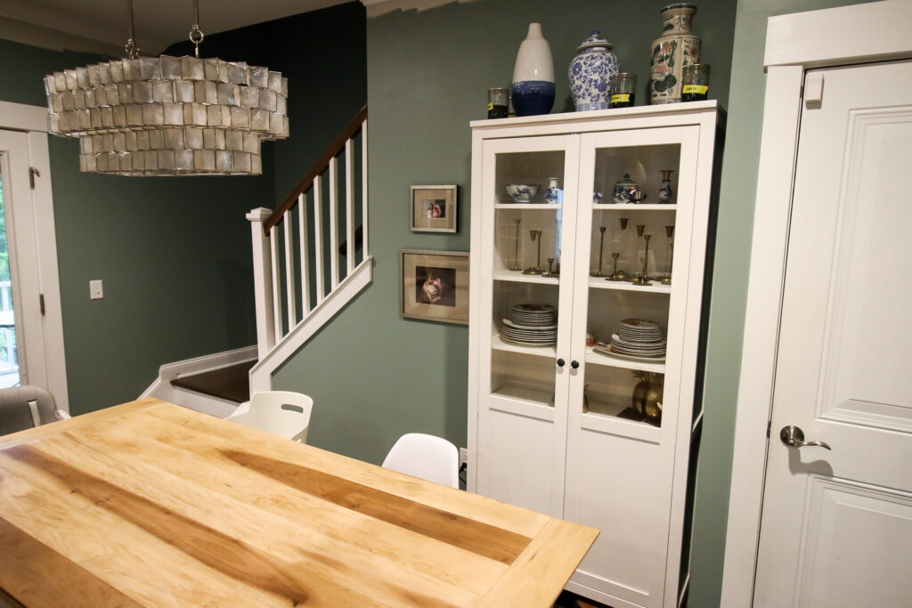 Dining space before with IKEA Hemnes cabinet