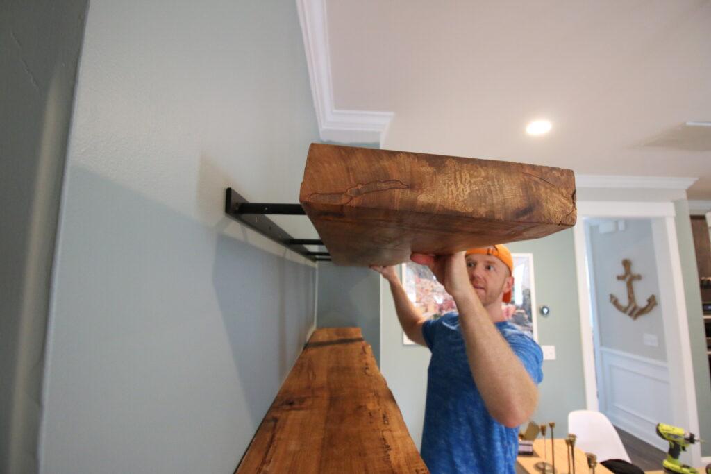 Installing live edge floating shelves